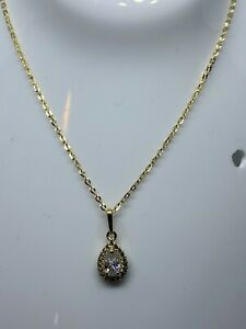 """9ct, 375 Real Gold CZ Drop Necklace With 18"""" Chain Brand New"""