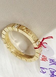 Authentic-Cartier-18k-Gold-Ring-w-2-diamond-Size-8-1-4-6-3g