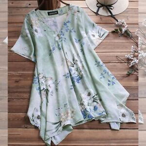 Loose-Short-Sleeve-Womens-Elegant-V-Neck-Casual-Floral-New-Blouse-T-Shirt