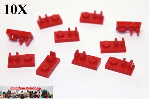 10X Lego® 92280 Platten 1X2 mit Halter Clip oben Rot Red Neu