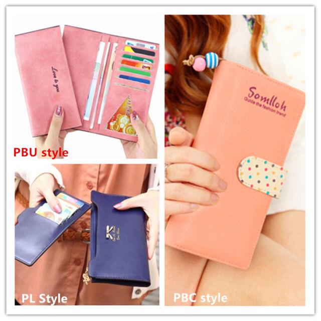 Women's lady Soft Leather Bowknot Clutch Wallet Long Card Purse Handbag uk
