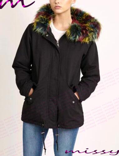NEW LADIES PLUS SIZE Womens Oversized Hood Coloured Pink Fur Parka Jacket Coat 2