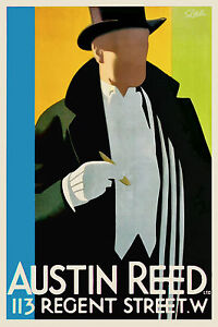 Vintage Art Deco Poster Top Hat 1920s Austin Reed London English Cigar White Tie Ebay