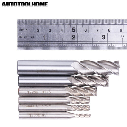 6pcs 4F End Mill HSS Milling Cutter 1//2 1//4 3//16 3//8 5//16 1//8 for Wood Metal