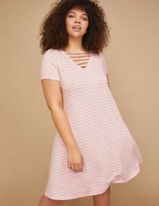 new list professional design better Details about LANE BRYANT ~ NWT! Plus 14 16 ~ Pink Striped CAGED NECKLINE  T-Shirt Dress 1X