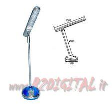 LAMPADA 30 LED ALIMENTAZIONE 220V & COMPUTER USB DA TAVOLO ACCIAIO UFFICIO CASA