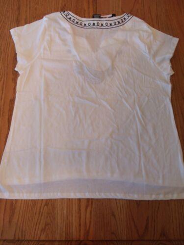 NWT WOMENS PREMISE BLEACH WHITE SHORT SLEEVE T-SHIRT SHIRT EMBROIDERED MEDIUM M