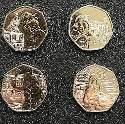 FULL-SET-OF-ALL-4-PADDINGTON-BEAR-50P-FIFTY-PENCE-COINS-UNCIRCULATED
