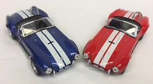 Kinsmart-1965-Shelby-Cobra-Kintoy-Diecast-Red-amp-Blue-Model-Cars-Lot-1-32-Scale