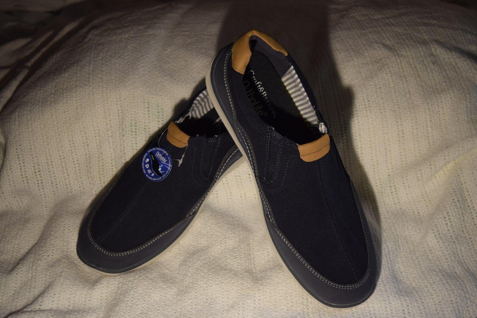 New Men's Size 11 Croft & Barrow Randy Ortholite Navy Loafer Slip on Boat shoes