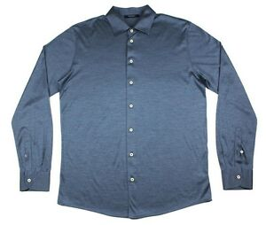 Men's GRAN SASSO Italy Blue 100% Silk L/S Button-Down Shirt 50 M / L NWT $225!