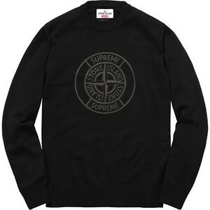 d3d8c97274f4 SUPREME x Stone Island Reflective Compass Sweater Black M box logo ...