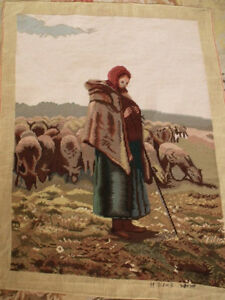 38-034-Vintage-Artistic-COMPLETED-Needlepoint-Figural-Tapestry-The-Shepherdess