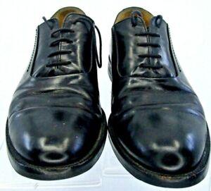 Johnston-Murphy-Oxford-Men-9-5M-Black-Leather-Plain-Toe-Lace-Up-Dress-Shoe-Italy