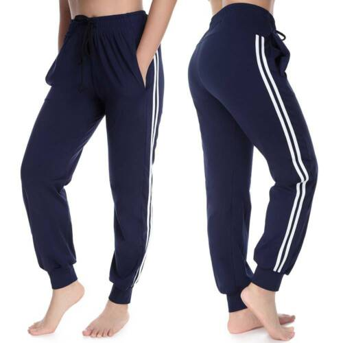 Damen Sporthose Streifen Freizeithose Traininghose Fitness Taschen Jogginghose