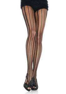 Leg-Avenue-Nylon-Spandex-Pantyhose-Vintage-Pinstripe-Net-Patterned-Hose-Regular