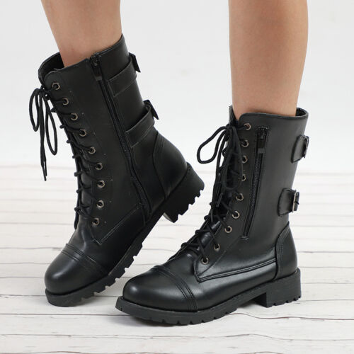 Women Military Boots Army Combat Ankle Lace Up Flat Biker Zip Buckle Shoes 3.5-8
