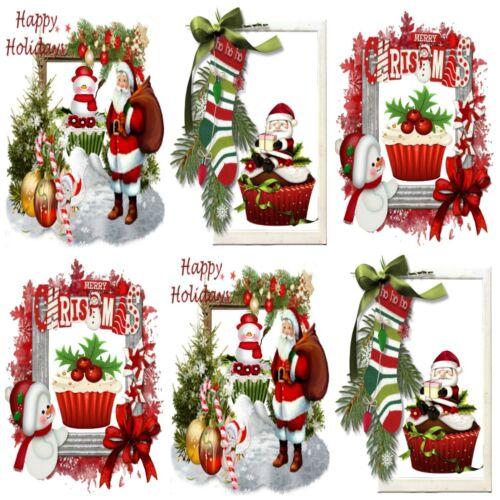 Tarjeta Toppers 12 Santa/'s Cupcake Adornos de Navidad elaboración de Tarjetas Toppers