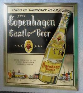 rare old tin litho sign advertising Copenhagen Castle Beer ...