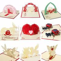 3D Handmade Pop Up Wedding Birthday Invitations Greeting Cards Christmas HOT