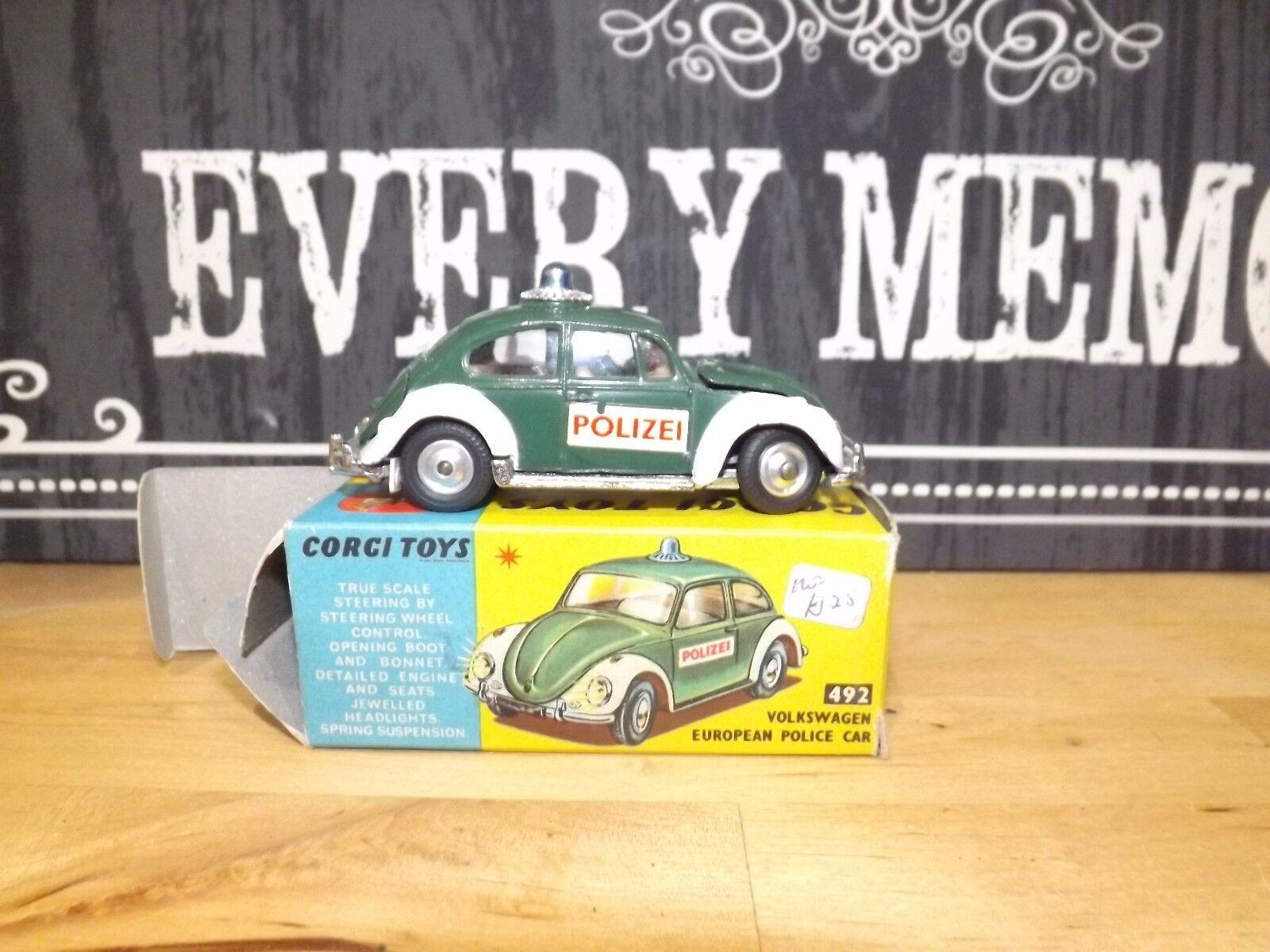 Corgi Toys 492 VOLKSWAGEN EUROPEAN POLICE CAR Original CAR AND BOX  VN MINT