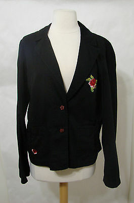 JOHNNY WAS Black LS Button Front Embroidered Jacket L