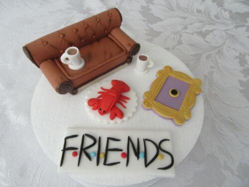 Edible Handmade Friends TV Cake Topper Decoration Set Sofa, Peephole, Logo..