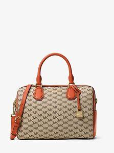 Details about Michael Michael Kors Mercer Medium Natural Orange Signature Duffle Bag