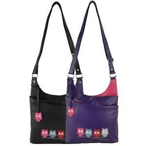 Ladies-LEATHER-Cross-Body-BAG-by-Mala-Kyoto-Collection-Owls-Shoulder-Handbag