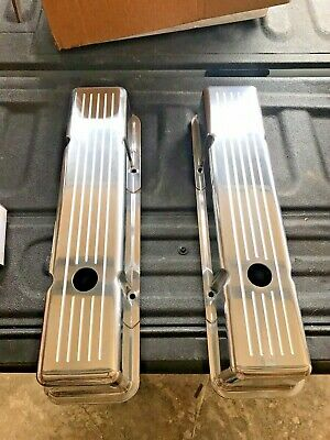58-86 SBC Chevy 350 Chrome Aluminum Ball Mill Recessed Valve Covers 400 Gaskets