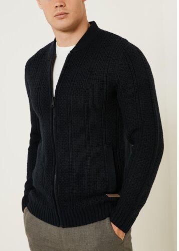 baseball in elastica navy logoro colletto maglia in Cardigan lana da blu misto maglione A61wqZw4