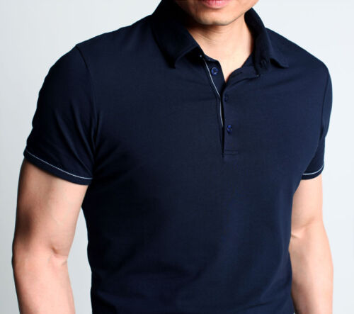 Mens T-Shirts Polo Shirt Short Sleeve Tee Stretch Cotton Basic Colour Fitted Cut