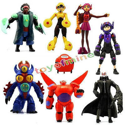 Big Hero 6 New Baymax Hiro Character 8pcs Action Figures Set Kids Toy Dolls Gift