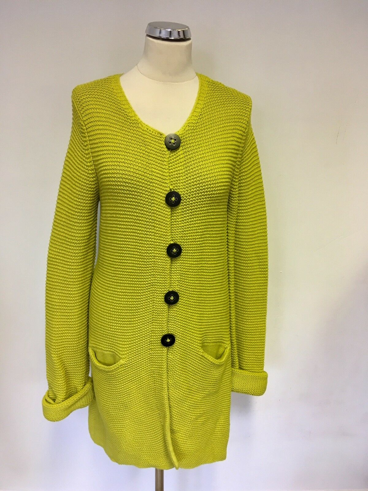 SET LIME GREEN LONG SLEEVE COTTON BLEND LONG CARDIGAN SIZE 12