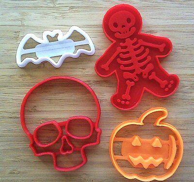 Halloween Cookie Cutters 4 - Skull, Skeleton, Bat, Jack-O-Lantern- 4 Sizes