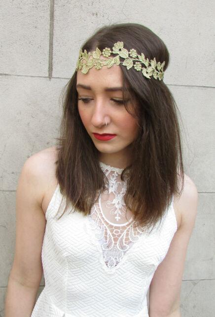 Gold Lace Vine Headband Vintage 1920s Grecian Roman Headdress Leaf Flapper f86