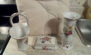Vintage Paris Royal Peint A La Main Porcelain. Floral Basket, Vase, Trinket Box.