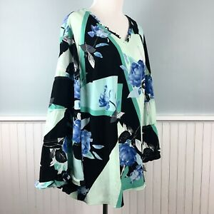 SIZE-1X-Alfani-Floral-Tiered-Ruffle-Sleeve-Top-Blouse-Shirt-Women-s-Plus-NWT-New