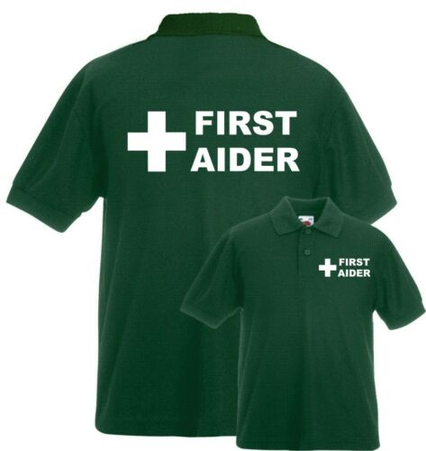 FIRST AIDER PRINTED GREEN POLO SHIRT FIRST AIDER FIRST AID WORKWEAR MEDICAL