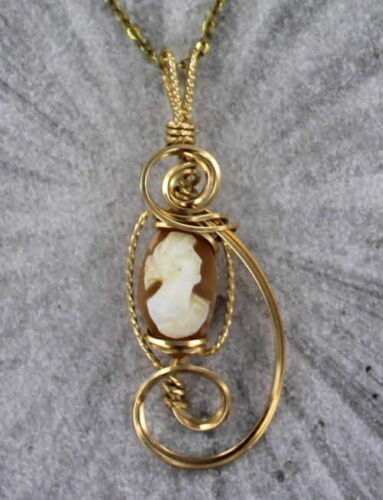 ----Wire Wrapped Necklace Vintage Shell Cameo Pendant Carved in Italy  in 14kt.Rose Gold Filled