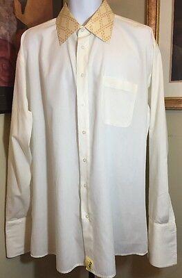 Primetime Poly cotton 17.5 36 / 37 Men's Pale Yellow French Cuff SHARP Shirt EUC