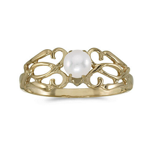 14k Yellow Gold Cultured Freshwater Pearl Filigree Ring CM-RM1188X-06