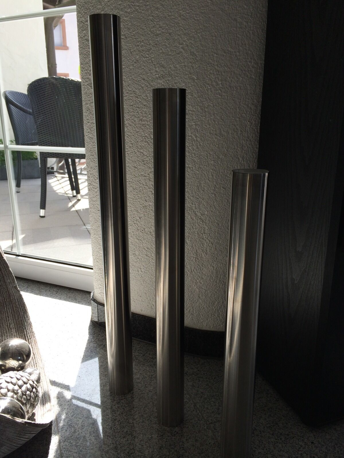 Design Kerzenständer Edelstahl poliert glänzend 66 cm