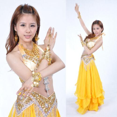 5pcs set Necklace//Bracelets//Earrings Belly Dance Costume Accessories Gold//Silver