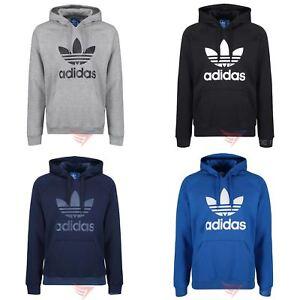 Détails sur Adidas Originals Trefoil Sweat à Capuche Bleu Marine Noir Gris Pull over À Capuche S M L XL afficher le titre d'origine