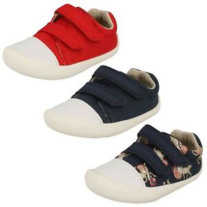 Infant Toddler Baby Boys Clarks Hook   Loop Washable Canvas Shoes ... d02a0e70f3d5