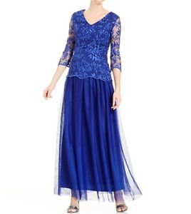 Alex-Evenings-Dress-Sz-8-Royal-Blue-Lace-Chiffon-Illusion-Formal-Blouson-Gown