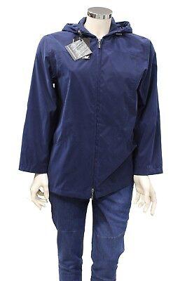 Cappotto giacca da donna blu Feyem con cappuccio manica lunga casual moda d867493716a