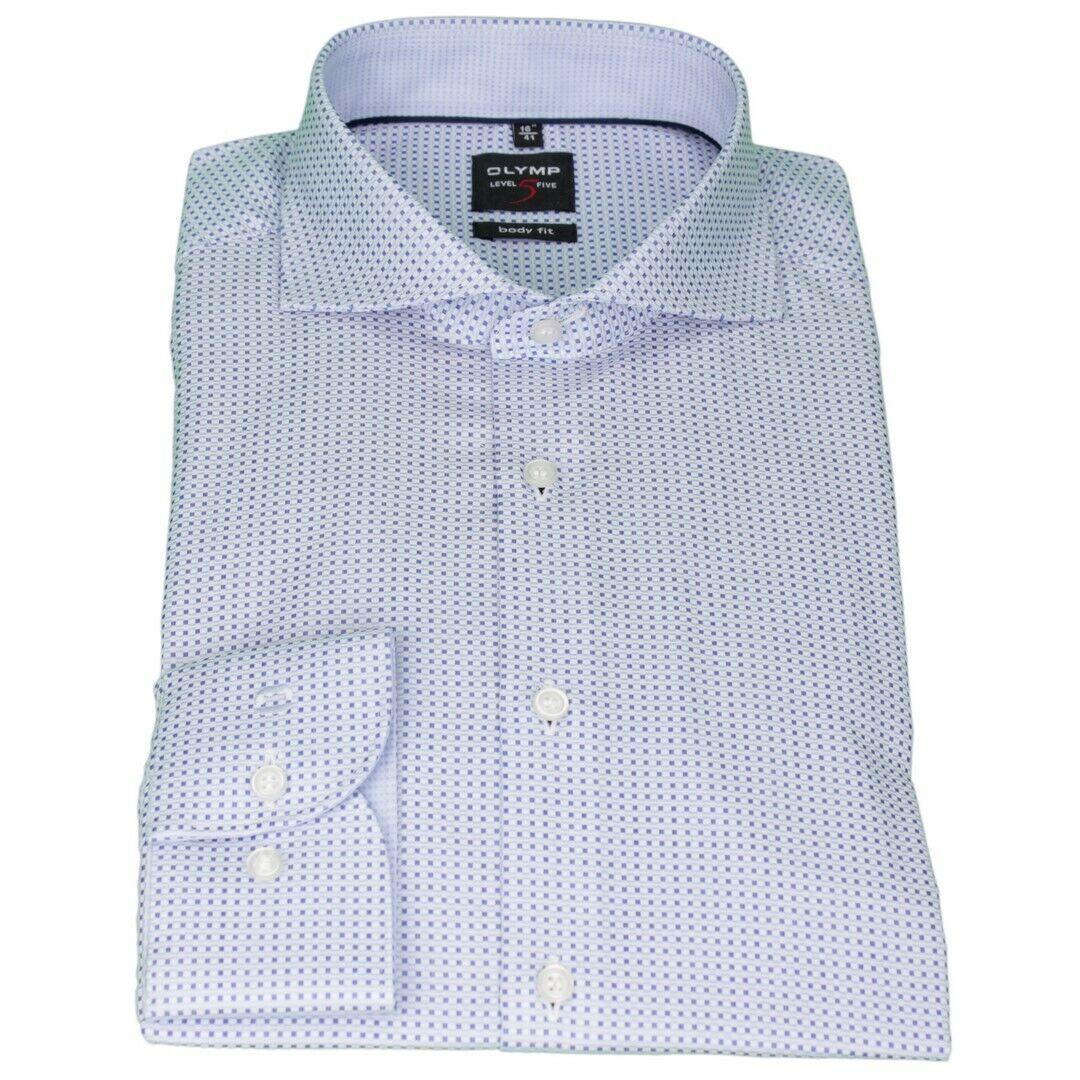 Olymp Herren Body Fit Hemd Level 5 blau Minimal Muster 2059 34 19