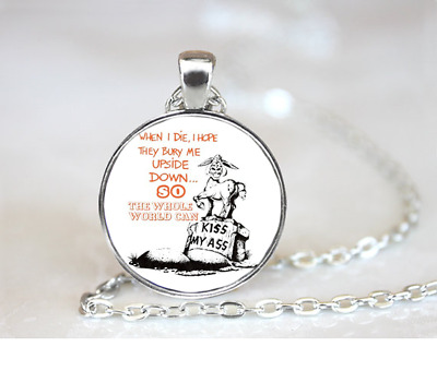 Bury Me Upside Down PENDANT NECKLACE Chain Glass Tibet Silver Jewellery